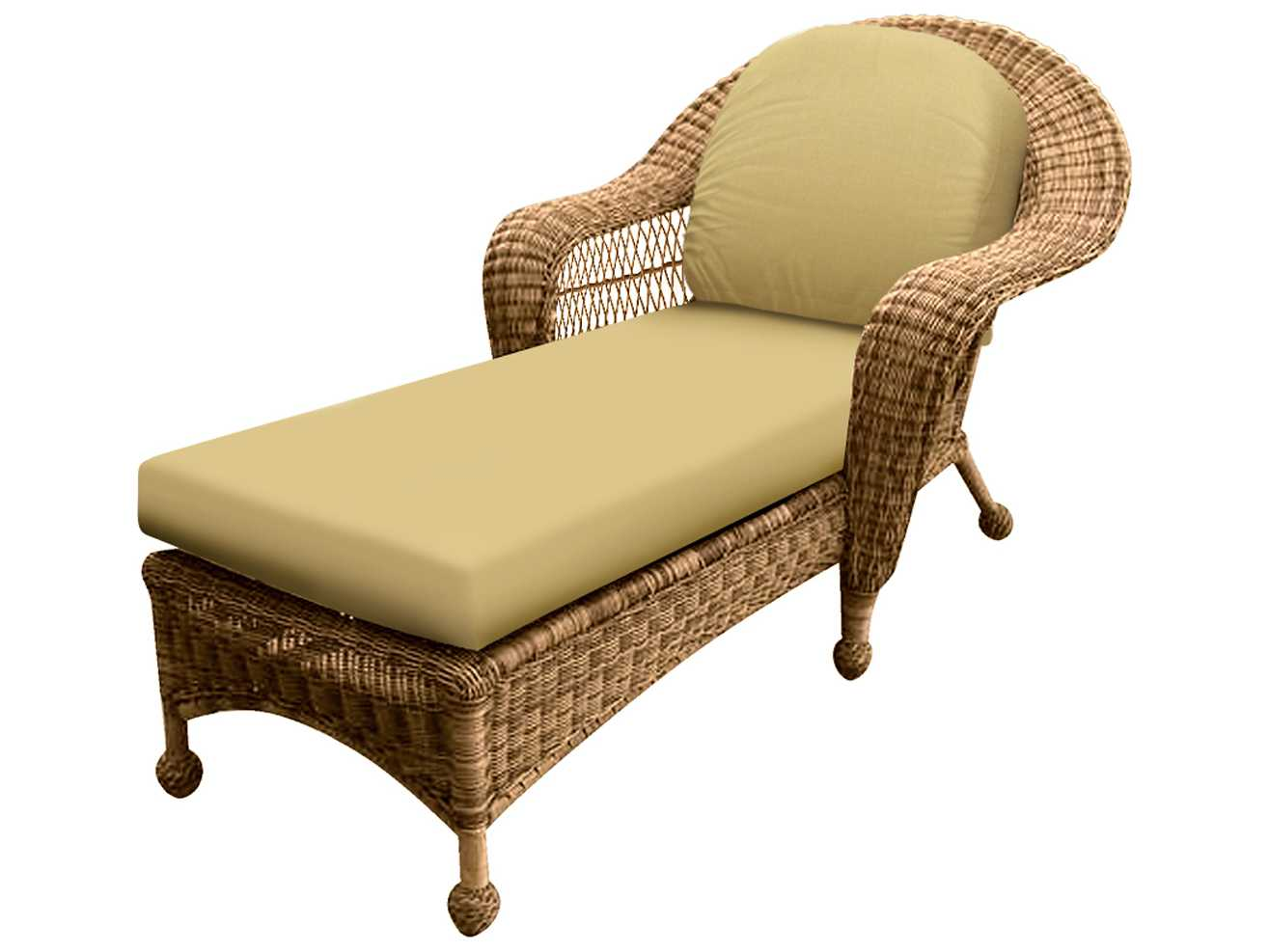 Forever patio catalina wicker chaise lounge in straw round for Catalina chaise lounge