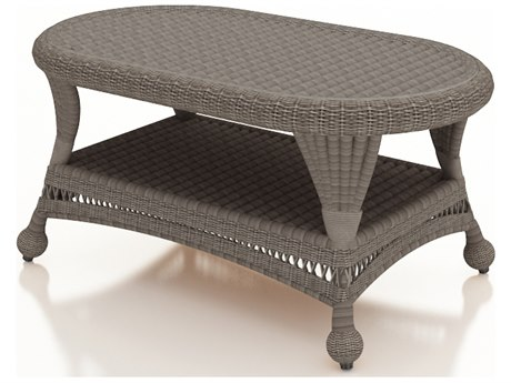 Forever Patio Catalina Heather Wicker 41 x 25 Oval Coffee Table
