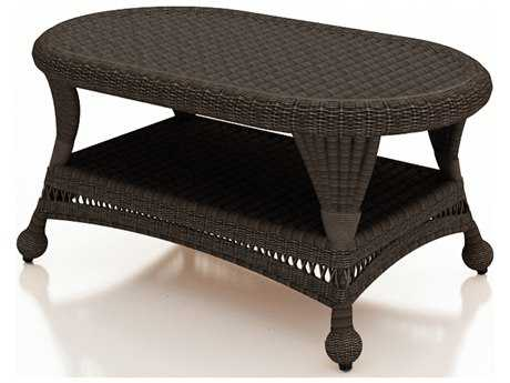 Forever Patio Catalina Wicker 41 x 25 Coffee Table in Sable Round