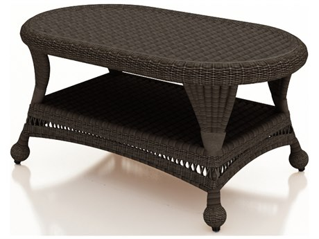 Forever Patio Catalina Sable Round Wicker 41 x 25 Coffee Table PatioLiving