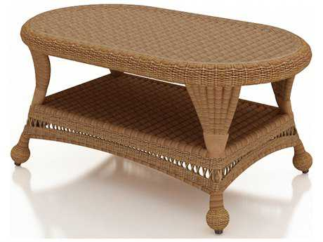 Forever Patio Catalina Wicker 41 x 25 Coffee Table in Straw Round