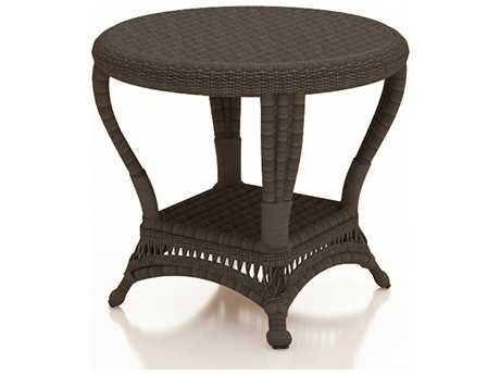 Forever Patio Catalina Wicker End Table in Sable Round