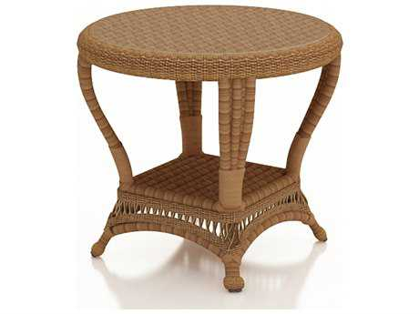 Forever Patio Catalina End Table in Straw Round