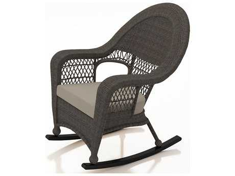 Forever Patio Quick Ship Catalina Sable Round Wicker High Back Rocker