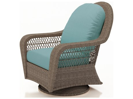 Forever Patio Quick Ship Catalina Heather Wicker High Back Swivel Glider
