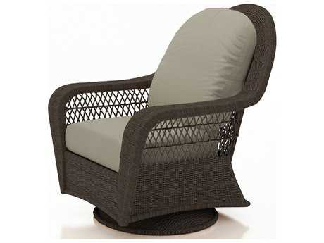 Forever Patio Quick Ship Catalina Wicker High Back Swivel Glider Chair in Sable Round
