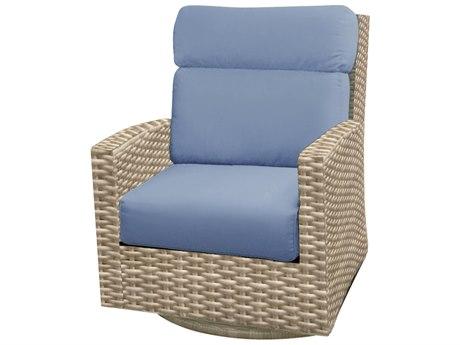 Forever Patio Cavalier Buff Wicker High Back Swivel Rocker Chair
