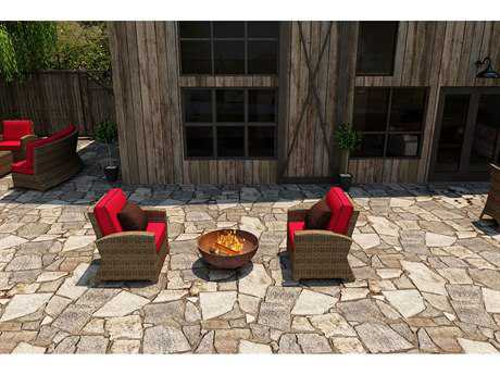 Forever Patio Quick Ship Cypress Heather Round Wicker Two-Piece Lounge Set