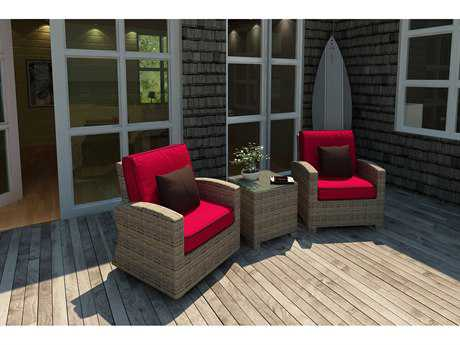 Forever Patio Quick Ship Cypress Heather Round Wicker Three-Piece Lounge Set