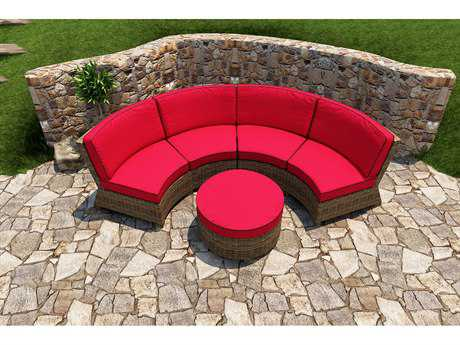 Forever Patio Quick Ship Cypress Heather Round Wicker Three-Piece Sectional Set
