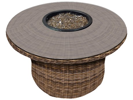 Forever Patio Cypress Heather Round Wicker 42 Round Fire Table PatioLiving