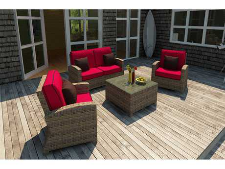 Forever Patio Quick Ship Cypress Heather Round Wicker Four-Piece Lounge Set