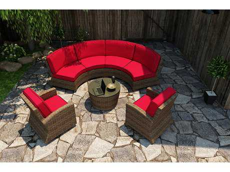 Forever Patio Quick Ship Cypress Heather Round Wicker Five-Piece Sectional Set