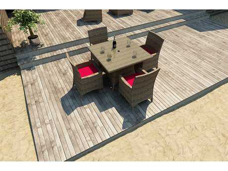 Forever Patio Quick Ship Cypress Heather Round Wicker Five Piece Dining Set