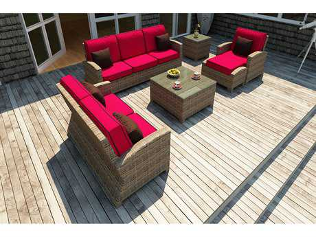 Forever Patio Quick Ship Cypress Heather Round Wicker Six-Piece Lounge Set