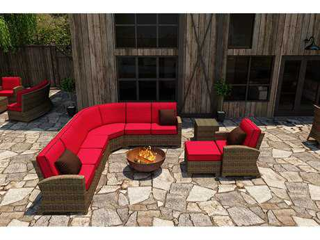 Forever Patio Quick Ship Cypress Heather Round Wicker Seven-Piece Sectional Set