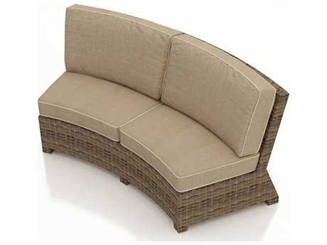 Forever Patio Quick Ship Cypress Heather Round Wicker Curved Sofa