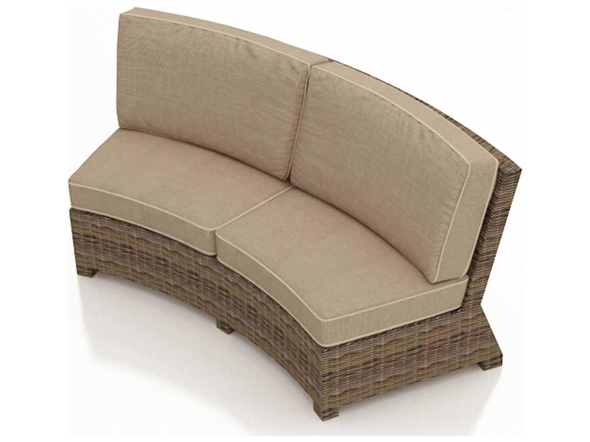 forever patio cypress heather round wicker curved sofa fp cyp cs hr. Black Bedroom Furniture Sets. Home Design Ideas