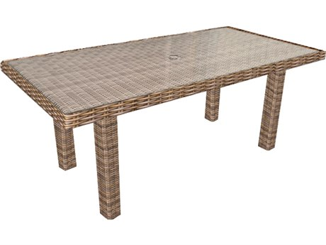 Forever Patio Cypress Heather Wicker 65.5 x 34 Rectangular Chat Table