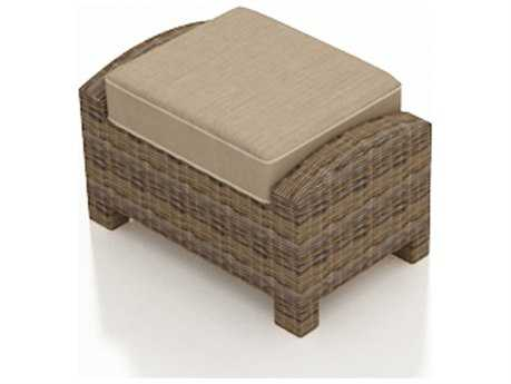 Forever Patio Cypress Heather Round Wicker Rectangular Ottoman