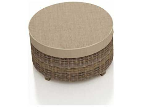 Forever Patio Quick Ship Cypress Heather Round Wicker Round Ottoman