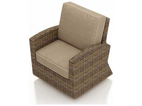 Forever Patio Quick Ship Cypress Heather Round Wicker Swivel Glider