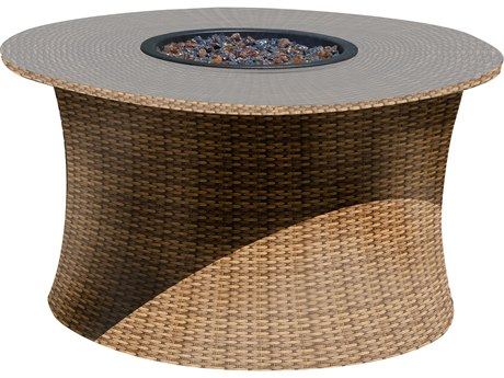 Forever Patio Hampton Biscuit Wicker 42 Round Fire Table