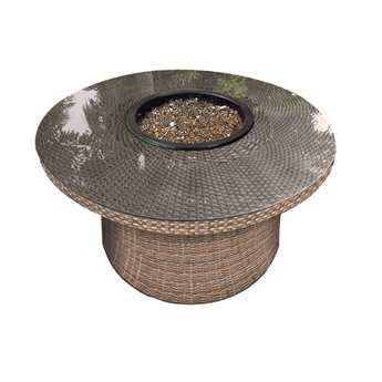 Forever Patio Hampton Heather Wicker 42 Round Fire Table