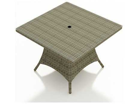 Forever Patio Hampton 48 Square Dining Table Umbrella Hole in Heather