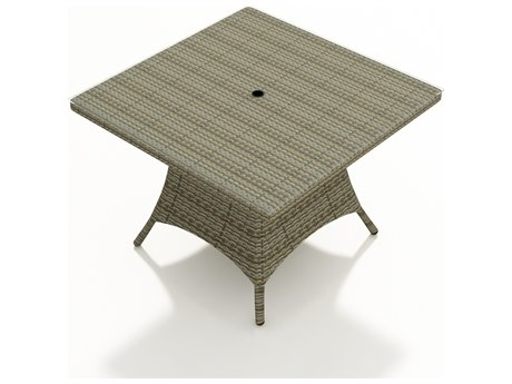 Forever Patio Hampton Heather Wicker 48 Square Dining Table with Umbrella Hole