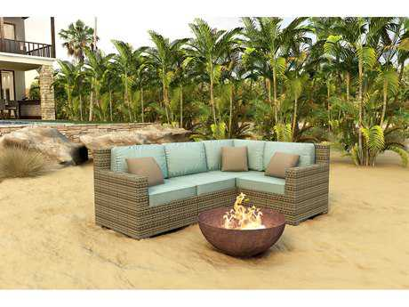 Forever Patio Hampton Wicker 4 Piece Sectional  Set in Heather