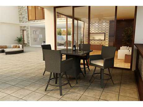 Forever Patio Hampton Wicker 5 Piece Bar Set in Chocolate