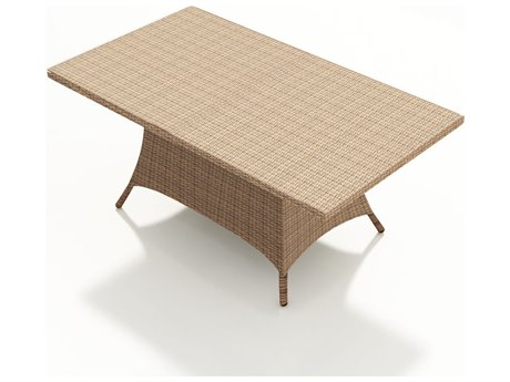 Forever Patio Hampton Biscuit Wicker 72 x 42 Rectangular Dining Table with Umbrella Hole