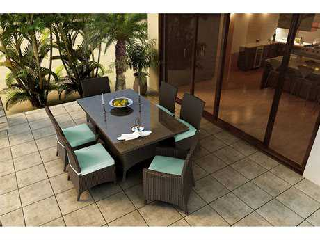 Forever Patio Quick Ship Hampton Heather Wicker Seven-Piece Dining Set