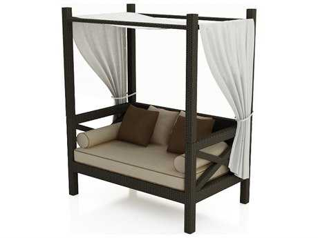 Forever Patio Quick Ship Hampton Wicker Canopy Day Lounger in Chocolate