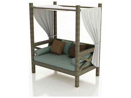 Forever Patio Quick Ship Hampton Wicker Canopy Day Lounger in Heather