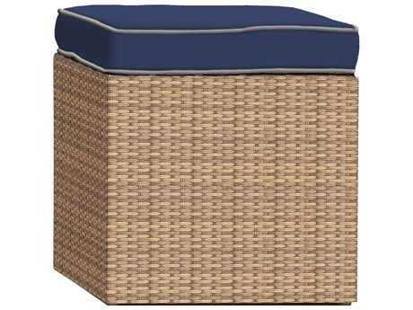 Forever Patio Hampton Biscuit Wicker Cube Ottoman