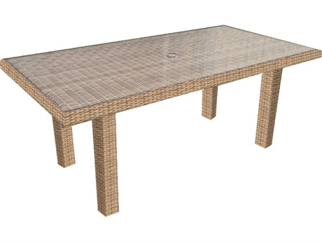 Forever Patio Hampton Biscuit Wicker 65.5 x 34 Rectangular Chat Table