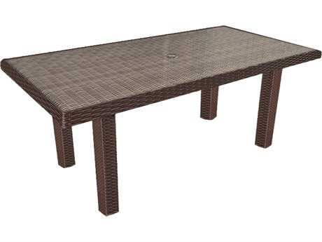 Forever Patio Hampton Wicker 65.5 x 34 Rectangular Conversation Table in Chocolate
