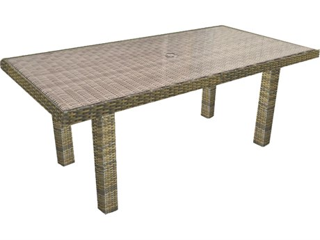 Forever Patio Hampton Heather Wicker 65.5 x 34 Rectangular Chat Table
