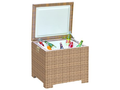 Forever Patio Hampton Biscuit Wicker 24 x 22 Rectangular End Table Ice Chest