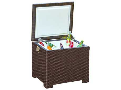 Forever Patio Hampton Wicker 24 x 22 Rectangular End Table Ice Chest in Chocolate