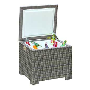 Forever Patio Hampton Wicker 24 x 22 Rectangular End Table Ice Chest in Heather