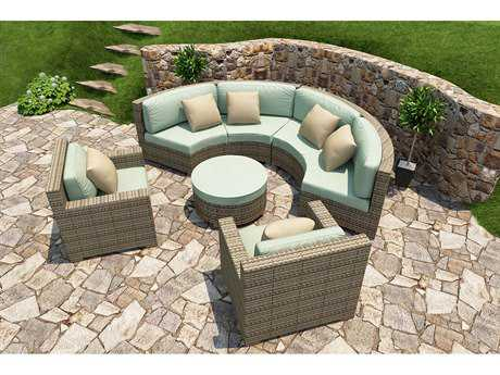 Forever Patio Quick Ship Hampton Heather Wicker Five-Piece Sectional Set