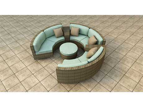 Forever Patio Quick Ship Hampton Heather Wicker Six-Piece Sectional Set