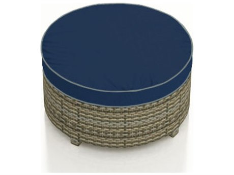 Forever Patio Hampton Biscuit Wicker Large Round Ottoman