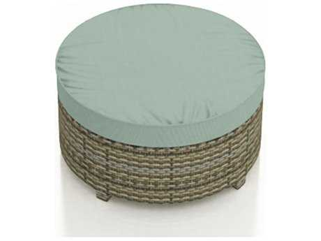 Forever Patio Quick Ship Hampton Heather Wicker Large Round Ottoman