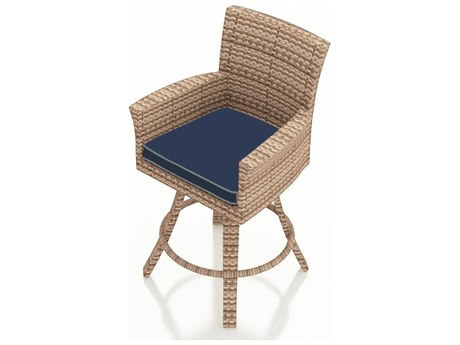 Forever Patio Quick Ship Hampton Biscuit Wicker 26 Swivel Counter Stool PatioLiving