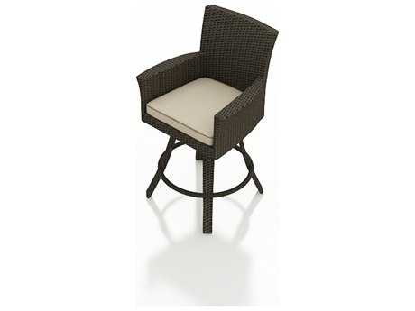 Forever Patio Hampton Wicker Swivel Bar Stool in Chocolate