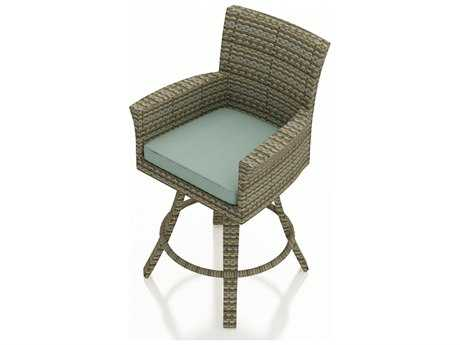 Forever Patio Quick Ship Hampton Wicker Swivel Bar Stool in Heather